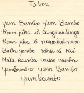 Poème Tabou 1947